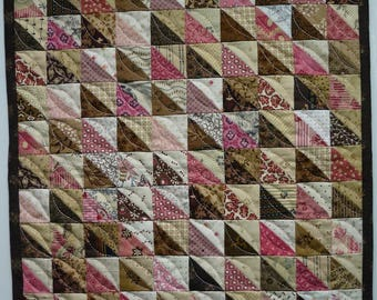 Doll Quilt, Small Quilt, Wall Hanging, Pink and Brown