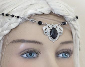 "Elven Circlet ""Black Elf"" Tiara Diadem Headband glass cabochons and Onyx beads"