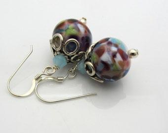 Mottled Lampwork Earrings Multi Colored Speckled Earrings Glass Bead Earrings Dangle Drop Earrings SRAJD USA Handmade