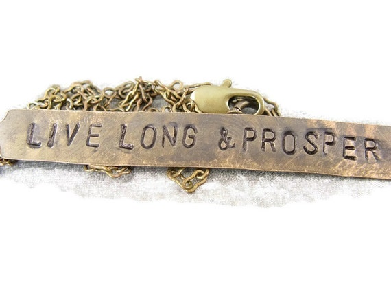 Live Long and Prosper - Hand Stamped brass Necklace
