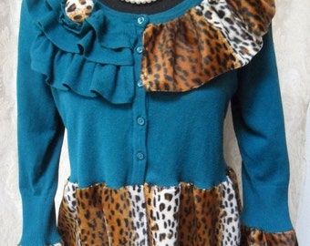 Holiday Sale 30% Off SWEATER Cardigan Leopard Boho Altered Clothing Whimsical Holiday - Sweater - Teal and Leopard