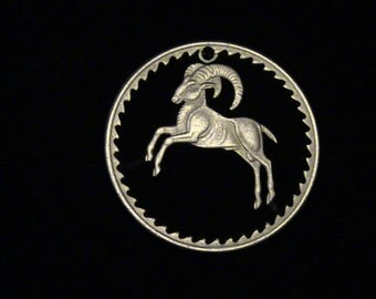 CYPRUS - cut coin jewelry - MoUNTAIN GoAT - 1963 - BRAND NEW