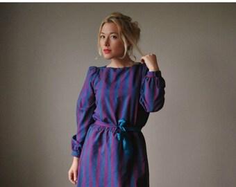 ON SALE 1970s Jewel Striped Dress~Size Small