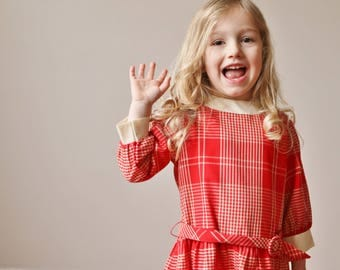 1970s Cinderella Plaid Dress /// Size 3t/4t