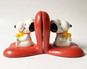 Snoopy Bookends 1965 Snoopy Collectible Peanuts Collectible Heart bookends vintage Bookends