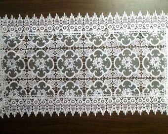 Geometric Sheer Lace Table Runner, Lace Dresser Scarf, or Lace Coffee Table Runner in Antique White  in Various sizes