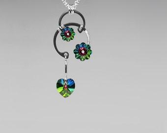 Vitrail Medium Swarovski Crystal Pendant, Green Swarovski, Swarovski Necklace, Industrial Jewelry, Space Jewelry, Pulsar v12