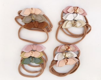 Set of 3//Knotted Leather Bow Headband One Size Nylon Baby Toddler and Kids// Free Ship in USA