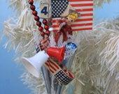 Patriotic Vintage Foil Candy Container Ornament, Spun Head, Silver