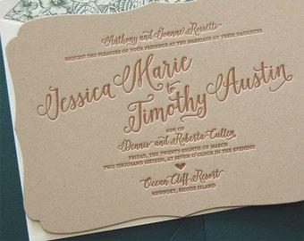 Letterpress Wedding Invitation Sample, Wedding Invitation, Bracket Wedding Invitation, Shaped Wedding Invitation, Floral Wedding Invitation