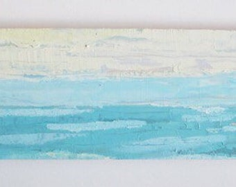 Abstract ocean oil painting: Rolling Waves, seascape, original oil painting on wood panel, beach, ocean