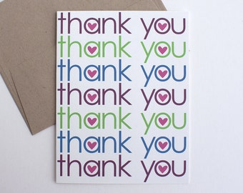 Thank You Card – Heart Thank You – All Occasion Card – Thank You Note – Blue Thank You – Green Thank You – Maroon Thank You