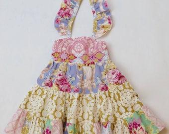 Gurls Boho Tiered Twirl Dress - Pink Twirl Dress - Pink and Gold Boho Dress