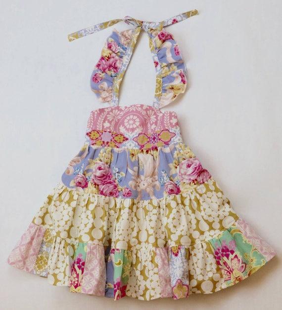 Girls Boho Tiered Twirl Dress - Pink Twirl Dress - Pink and Gold Boho Dress - Floral Easter Dress - Pink and Gold Easter Dress