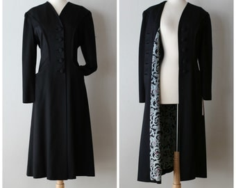 1940s Black Gabardine Princess Coat ~ Vintage 1940s Ladies Gabardine Coat By Botany Rayon Novelty Print Lining Featuring Can Can Dancers!