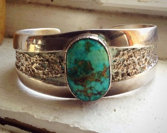 Vintage Sterling Silver Royston Turquoise Cuff Bracelet by Santo Domingo Nelson Garcia