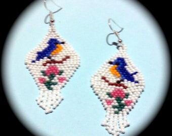 Blue Bird Native American Style Handwoven Long Dangle Seed Bead Earrings Fashion Earrings
