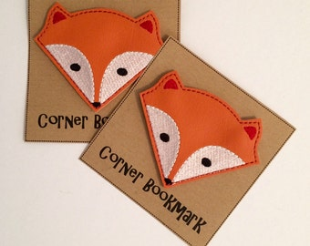 Fox - Embroidered Corner Bookmark