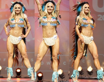 Create Your Own Custom Pageant Wear Winner of WBFF 3 piece competition Rave Ocean Mermaid