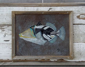 Picasso triggerfish original acrylic painting