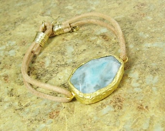 SUMMER CLEARANCE Gold Leather Boho Bracelet, Green Leather, Pastel Blue Agate, Double Strand, Beach Bracelet, Beach Jewelry