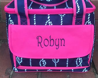High Tied Insulated Cooler-Nautical Lunch Bag-Personalized-Monogram-Cooler Bag-Cold Bag