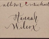 Custom place cards for Reagin -calligraphy, monogram