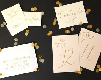 calligraphy for wedding or event - custom lettering - place cards, invitations, table numbers, envelope addressing