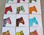 "Set of 12 Batik Fabric Horse Head  6"" x 6""  Cotton Quilt Blocks"