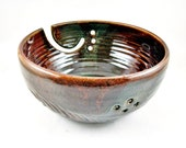 large Yarn bowl, knitting bowl, brown red / Olive green, Christmas gift to MOM - In stock TBP