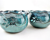 Large Yarn bowl, knitting bowl, teal blue yarn bowl, pottery gift to her - Made to order