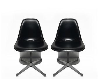 Pair of Black Vinyl Charles Eames Herman Miller Shell Chairs