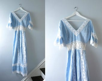 Vintage Blue Wedding Dress | 1970s Crochet Blue & White Boho Hippie Mexican Maxi Dress L | Mexican Wedding Dress