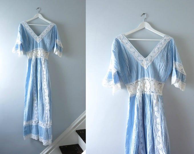 Vintage Blue Wedding Dress   1970s Crochet Blue & White Boho Hippie Mexican Maxi Dress L   Mexican Wedding Dress