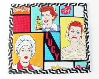 I Love Lucy, mug rug, hotpad, quilted snack mat, novelty mug rug, potholder, fabric mug rug, kitchen mug rug, handmade potholder, Lucy lover