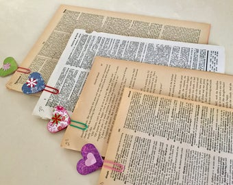 Ephemera, Vintage Book Pages, Naturally Aged Paper, Scrapbooking, Cards, Tags, Journaling, Embellishments, Paper Crafting, Decoupage