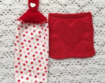 Heart Kitchen Set, Crochet-top Heart Towel, Cotton Knit Heart Dishcloth, Heart Towel Set, Red Heart set, Kitchen Towel and Dishcloth Set
