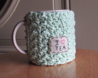 Crochet tea mug cozy tea cup cozy in mint
