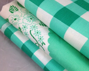 Three Vintage Flour Sack Pieces of Fabric in White and Green