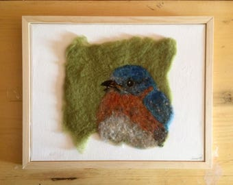 """Original """"Bluebird"""" Needle Felted Wool Painting with Painting"""