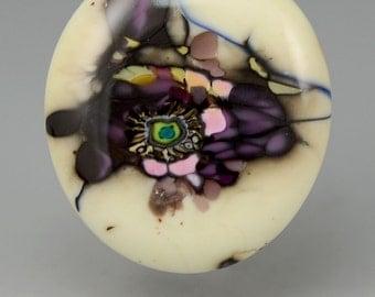 Purple Feather ... glass cabochon artisan handmade artsy organic lampwork jewelry designer cabs  by GrowingEdgeGlass/ Mikelene Reusse