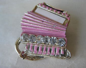 Accordion Pink Brooch Rhinestone Clear Gold Pin Vintage