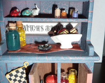 Halloween One Inch Dollhouse Miniature Hutch Cabinet
