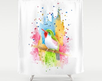 Shower Curtains Art Shower Curtain Bath Bathroom Bird 72 pink blue orange green colorful art painting L.Dumas