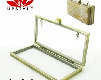 NEW - Small Box Clutch Purse Frame - Minaudiere - No Sew Project - Antique Gold or Nickel (silver) with chain loops