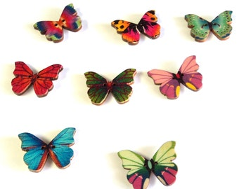 8 Colorful Butterfly Magnets, Upcycled Painted Wooden Buttons, Stocking Stuffer, Decor for the Frig, Butterfly Lover Gift