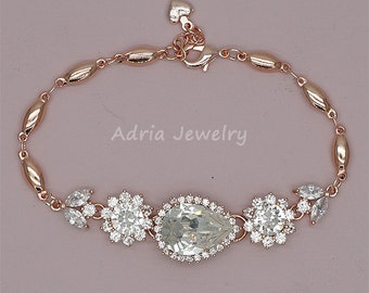 Crystal Wedding Bracelet, Rose Gold Bracelet, Crystal Bridal Bracelet, Swarovski Rhinestone Wedding Jewelry,   Rose Gold Bracelet