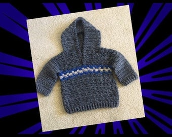 Baby Sweater, Boys Pullover Sweater, newborn Sweater, Baby Shower Gifts, Hooded Sweater for boys, Handmade Sweater for Baby