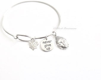 Never Give Up with Lotus Flower & Shakyamuni Buddha Charm Bangle Bracelet - Solid 925 Sterling Silver - Insurance Included