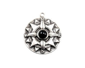 Nautical Compass Pendant with Black Faux Pearl Cabochon Accent - Antiqued Sterling Silver Plated - Pirate, Steampunk, Bohemian, Travel